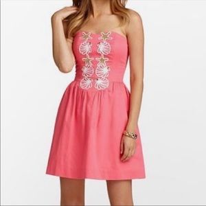 Lilly Pulitzer Coral Strapless Mayfield Strapless